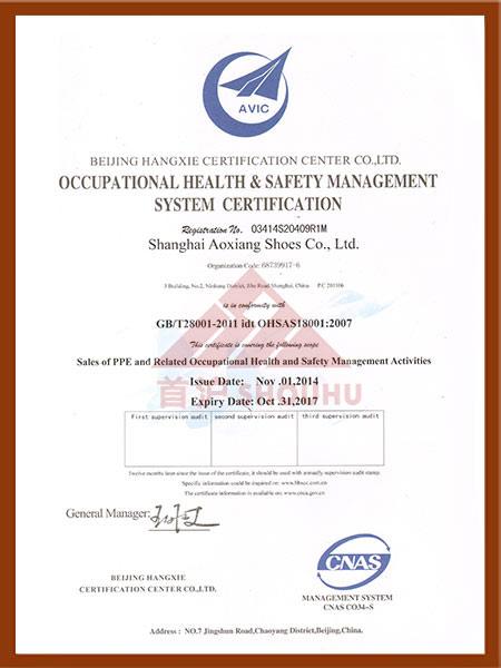 (劳防用品)职业健康安全管理体系认证证书(英文版)