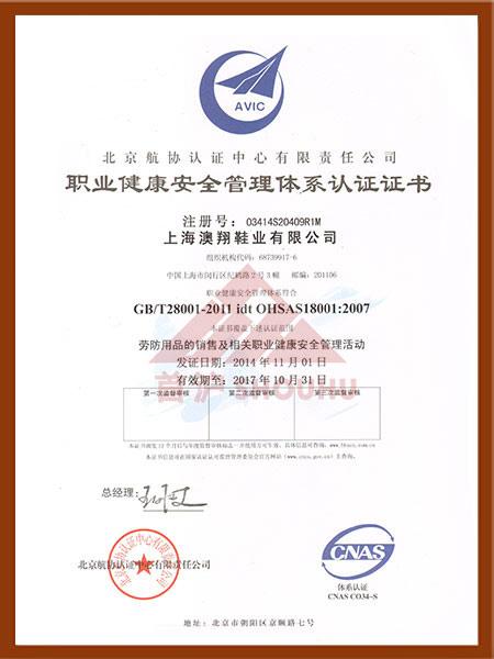 (劳防用品)职业健康安全管理体系认证证书